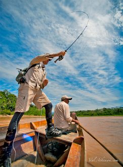 Fishing from a dugout canoe at Secure Tsimane