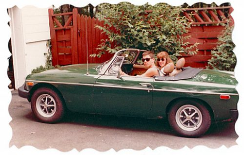 Chris King in his MGB